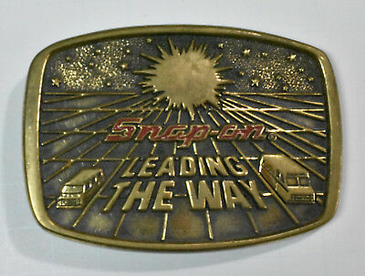 "Vtg 1988 Limited Edition Snap-On Tools Belt Buckle ""Leading the Way"" Brass USA"