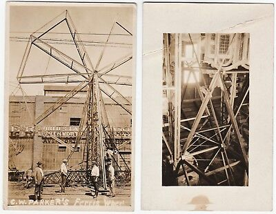 RARE 2 Real Photos CW Parker Amusement Co Ferris Wheel 1915 Leavenworth KS RPPCs