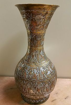 "Amazing Antique Egyptian silver copper inlay figures brass vase 16 3/8 "" tall"