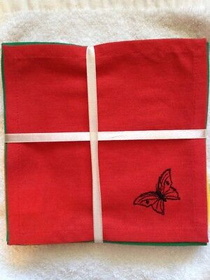 8  BUTTERFLY Embroidered Cocktail Napkins 8 Colors  NEW! - Low Price! SHIPS FAST