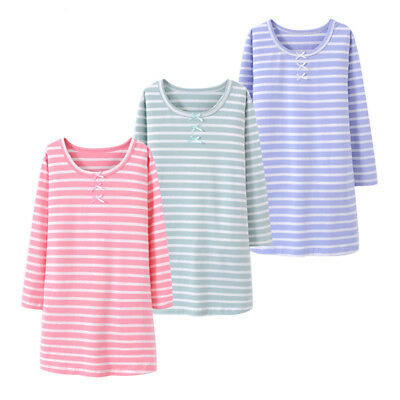 Kids Girls Nightdress Long Sleeve Striped Pajamas Nightwear 100%Cotton Nightgown