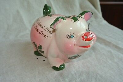 Vintage Kreiss Holly Christmas Piggy Bank with Rhinestones and Eyelashes