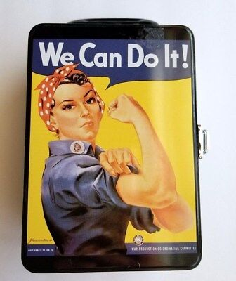 """Smithsonian Rosie The Riveter """"We Can Do It!"""" Metal Tin Lunch Box Collectible"""