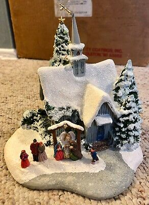 "2007 Thomas Kinkade Light-up ""Winter Church with Living Nativity"" from Teleflora"