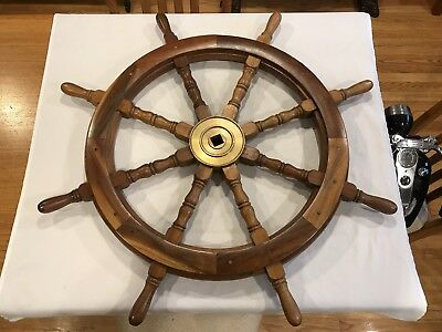 36 Inch NAUTICAL SHIPS WHEEL With BRASS CENTER HEAVY WOODEN DECORATIVE DISPLAY