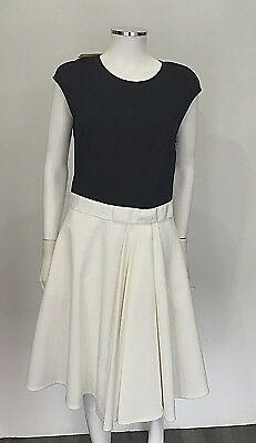 20b082a760 Ted Baker Women White Blue Stretchy Knit W  Bow Detail Pleated Dress SZ  Large