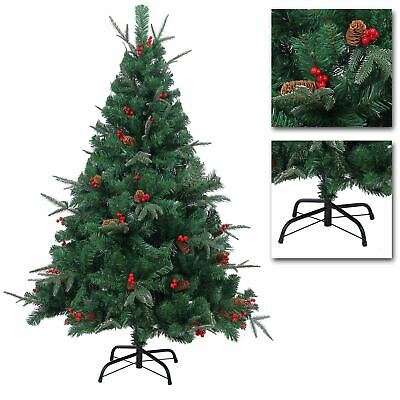 REALISTIC Artificial Christmas Tree Pre Decorated Pine Cones Barries Frozen Tips