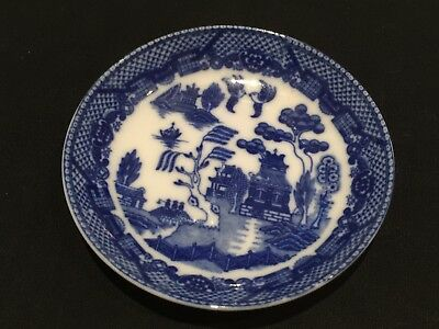 Japanese Porcelain Pin Dish - Blue and White, Mountain Temple Scene, Blue Willow