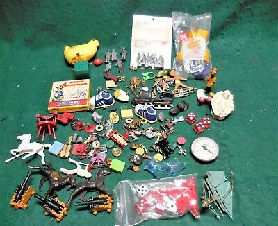 Large Lot of Vintage Collectibles, Charms, Gumball Machine Trinkets, Toy Figures