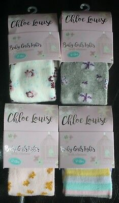 Set of 4 Pairs of CHLOE LOUISE Boutique Baby Girl Tights - NWT - 0 - 24 Months