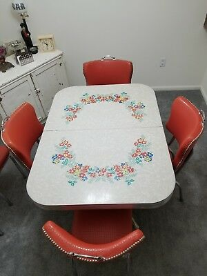 Vintage 1950,s Retro Formica Dinette Kitchen Table & 6-Chairs Set EUC