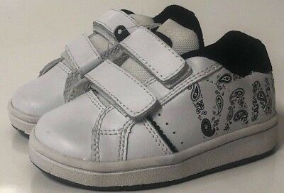 e1290283c4052e VANS Widow V Boys Size 6.5 Toddler White Shoes Leather Hook and Loop Closure