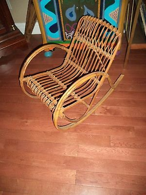 VINTAGE 1940's? BAMBOO WICKER WOOD CHILD'S ROCKING CHAIR ART DECO