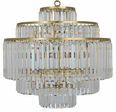 """25"""" W Chandelier Cut Glass Crystals Hang from 5 Tier Antique Brass Frame"""