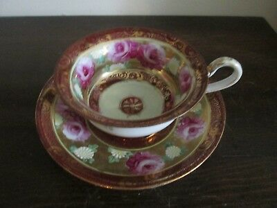 Nippon Japan Handpainted Tea Cup And Saucer Heavy Gold Burgundy Red Roses