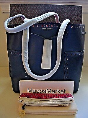 098bab05327 NWT Authentic TORY BURCH Block-T Brogue Drawstring Tote in Navy w  GIFT BAG