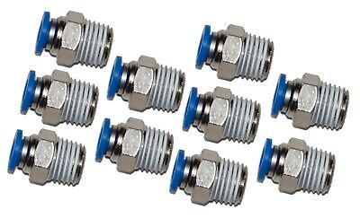 "10 Pieces pneumatic 1/4"" Tube x 1/4"" NPT Male Connector Push to Connect fitting"