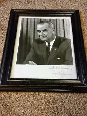 Rare Original * Hand-Signed by President Lyndon B. Johnson * 8x10 Framed Photo