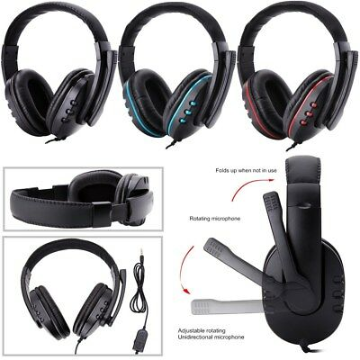 Stereo 3.5mm Wired Gaming Headset Headphone For PS4 Xbox One MA