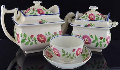 Staffordshire Pearlware Teapot, Sugar & Matching Cup & Saucer-Early 19Thc.