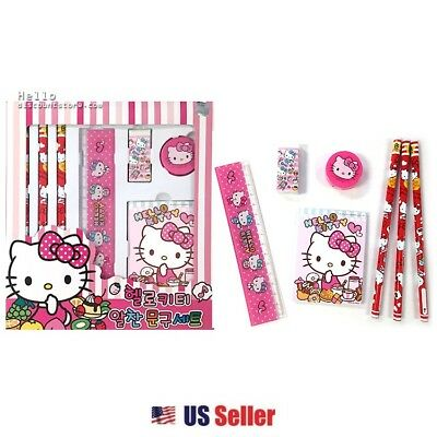 Sanrio Hello Kitty Assorted School Stationary 7pcs Gift Set : Red