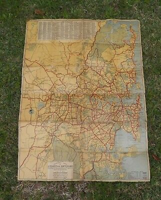 RARE Cloth Map Sydney and Environs inc detailed Locals Rails Trams Roads