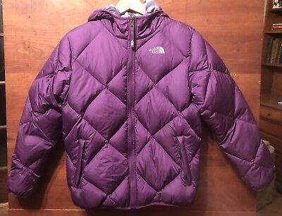 5def946312 The North Face Girls  Reversible Moondoggy 550 Down Jacket Size L 14 16 Euc