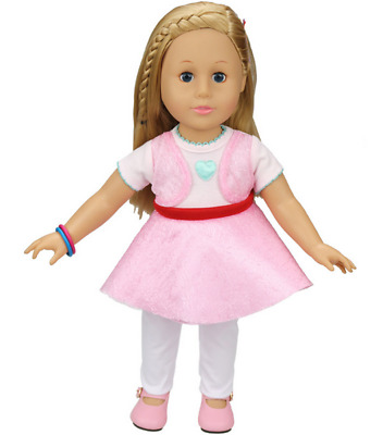 Fit For 18'' American Girl Set Pink Mini Dress White Long Pants Doll Clothes New