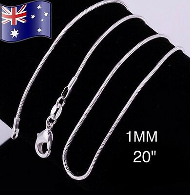 "925 Sterling Silver 1MM 20"" Classic Snake Necklace Chain Wholesale Bulk Price"