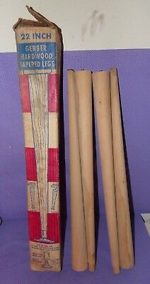 """Vtg NOS Gerber Round Tapered Furniture Replacement Legs 22"""" Unfinished Wood (B)"""