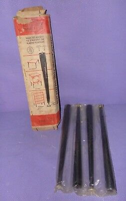 """Vtg NOS Gerber Round Steel Tapered Furniture Replacement Legs 16"""" Black"""