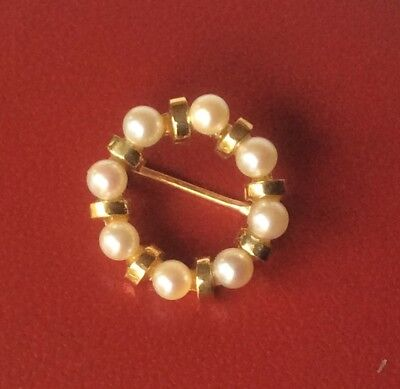 Vintage 14K Yellow Gold Pearl Ring Brooch Pin - 15.46mm