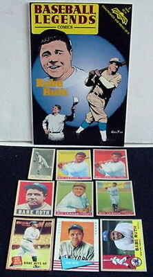 Babe Ruth Legends Comic Book + 9 Reprint Cards 1916 RC Goudey Leaf Topps Fleer