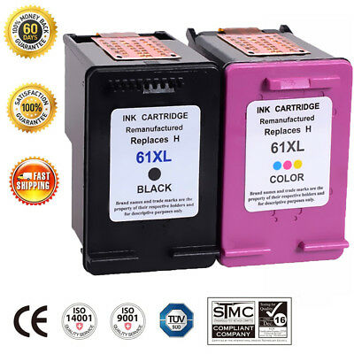 . 2 Pack Combo Black Color Ink Cartridge For HP 61 61XL Envy 4500 4505 5530 5535