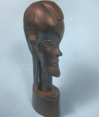 "Hand Carved Wooden Statue - African Head - Wood - 9"" Tall"