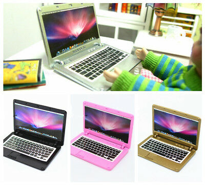 Dollhouse Miniature Metal Laptop Computer Notebook Study Room Accessory 1:6 Toy