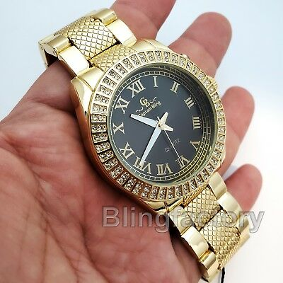 Men's Hip Hop Iced out Luxury Gold Tone Bling Simulated Diamond Rapper Watch