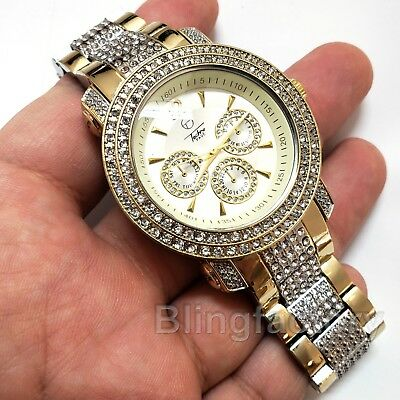 Men's Bling Hip Hop Iced out Luxury Gold Tone Simulated Diamond Rapper Watch