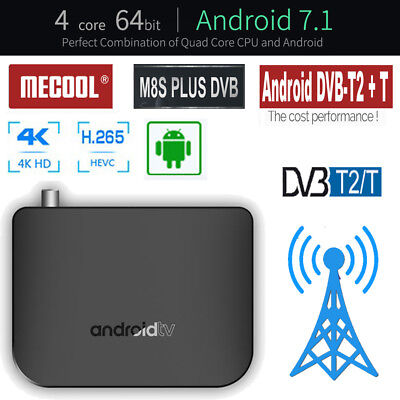 4K 30fps Android 7.1 TV Box tuner DVB-T2/T Convertor Receiver Wifi Combo S905D