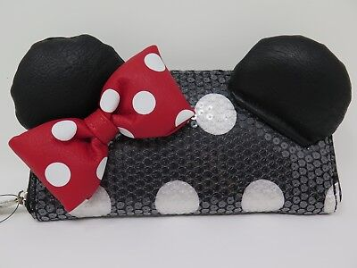 Loungefly Disney Parks Exclusive Minnie Mouse Bow Sequin Zip Wallet Clutch NWT