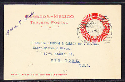 Mexico 1927 Embossed 4c Red Lettercard to New York