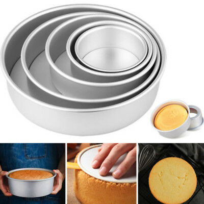 2-10Inch Sandwich Cake Baking Tin Pan Mould Box Round Deep Loose Base Bottom