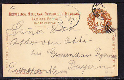 Mexico 1900 Embossed 3c Brown Lettercard to Germany