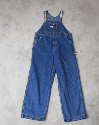 f1c46e25 VINTAGE Tommy Hilfiger Overalls Adult Large Blue Big Flag Spell Out Mens 90s