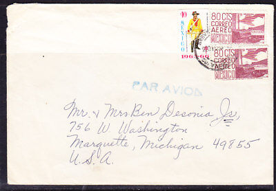Mexico 1966 Airletter to Michigan (some damage)