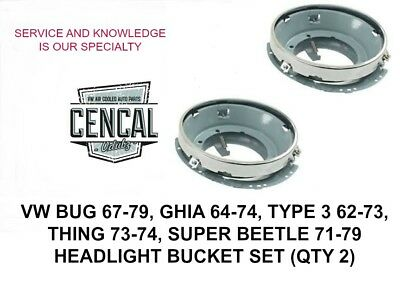 Headlight Bucket Assembly Vw Bug Thing Ghia Type 3 Super Beetle 67-79 141941041