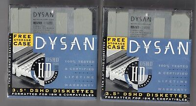 """DYSAN 3.5"""" DSHD Disks 2 boxes of 10 New still with wrapper IBM Format"""