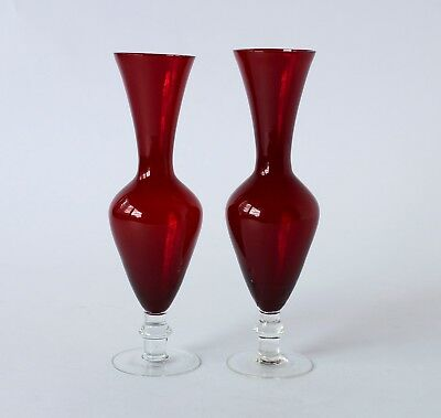 Vintage Retro 60s/70s PAIR OF ART GLASS PEDESTAL VASES Ruby Red & Clear JAPAN