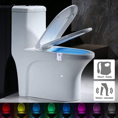 2-Pack : 8-Color LED Motion Sensing Automatic Toilet Bowl Bathroom Night Light