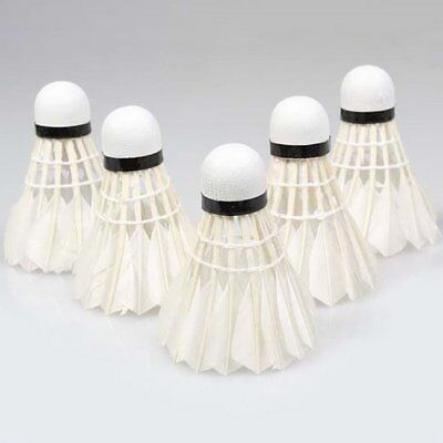 5Pcs Game Sport Training White Duck Feather Shuttlecocks Birdies Badminton WT